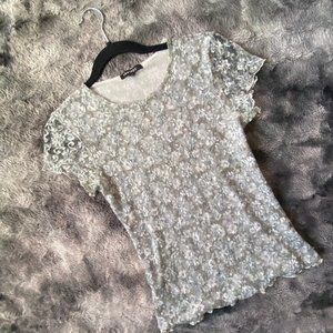 VTG Therapy Mesh Floral Lace Top